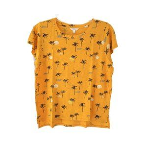 Lucky Brand Womens Gold Palm Tree Print TShirt Med